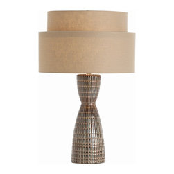 Arteriors - Carlsbad Lamp - Add something chic and shapely to your favorite setting. This unusual table lamp has a wasp waist, scored-pattern base that stands in striking counterpoint to the tiered shade.