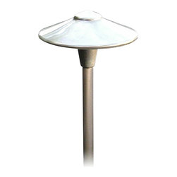 "Focus - Contemporary Cast Brass Low Voltage Landscape Light - This attractive landscape light is ideal for path lighting or for use in flower beds. It features a brass finish and cast brass construction. The 10 foot radius light spread makes this ideal for larger lawns or pathways. Brass finish. Cast brass construction. Includes one 18 watt bulb. Includes 3 feet of lead wire. Includes ABS ground spike. For use with existing low voltage landscape lighting systems. 10"" wide. 19 3/4"" high above ground. Stake is 8 3/4"" high.  Brass finish.  Cast brass construction.  Includes one 18 watt bulb.  Includes 3 feet of lead wire.  Includes ABS ground spike.  For use with existing low voltage landscape lighting systems.  10"" wide.  19 3/4"" high above ground.  Stake is 8 3/4"" high."