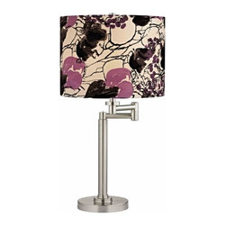 Design Classics Lighting - Pauz Swing Arm Table Lamp with Floral Print Lamp Shade - 1902-09 SH9500 - Contemporary / modern satin nickel 1-light table lamp. Swing arm has a maximum 9-inch extension. Features a purple flower with black accents print drum shade. Takes (1) 100-watt incandescent A19 bulb(s). Bulb(s) sold separately. UL listed. Dry location rated.