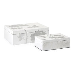"""IMAX - Mershaw Lidded Boxes - Set of 2 - A brilliant white lacquered finish with delicate silver leaf floral pattern give the Mershaw accessories an elegant yet bold presence. The set ofeetwo lidded boxes is the perfect tabletop storage, whether using them to hold k psakes, knick knacks or jewel Item Dimensions: (3-3.75""""h x 5.25-8""""w x 8-10.75"""")"""