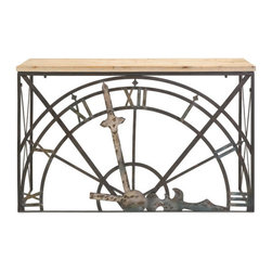 Timekeeper Console Table - Need a serious statement piece for your entryway? Try this dramatic console table fitted with half of an old-fashioned clock face in antiqued black iron. The natural wood top needs little decoration to balance out its amazing base.