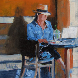 """""""The Office"""" Artwork - The concept of this painting came from a common scene these days.  People everywhere, everyday working from their 'portable' office.  This gal had it going on at a Starbucks in Coronado with a nice cold drink.  What a great way to do business!  This original piece of art is set in a high-end La Paz Floater professionally mounted floater frame.  This original artwork is rendered in professional artist oil colors Alla Prima style. Only the highest museum quality artist's materials have been used in its creation.  Oil on LINEN panel."""