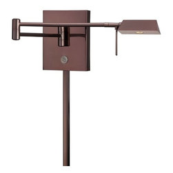 Kovacs - Kovacs P4318-631 LED Swing Arm Wall Sconce - Kovacs P4318-631 LED Swing Arm Wall SconceThe built in swing arm in this beautiful and functional LED swing arm wall sconce extends in all directions wherever light is needed from a minimum of 5 inches to 23.5 inches from the wall. The rich Chocolate Chrome finish and elongated triangular shade makes for a beautiful addition to any room. Whether relaxing with a fine novel or reading an important business document, task lighting provides  the necessary illumination for understanding. This LED swing arm wall lamp is a beautiful and versatile choice for task lighting in the bedroom, living room, study, or home office. Kovacs P4318-631 Features: