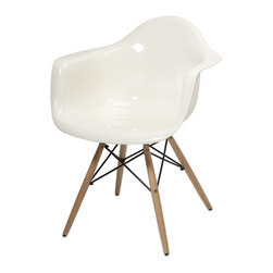 iMax - iMax Arturo White Acrylic Chair w/ Wood Leg X-62598 - Featuring a modern and funky design concept, this trend-setting stylish chair incorporates a cutting edge opaque white acrylic design with wood legs that transitions well in a variety of d�_cor.
