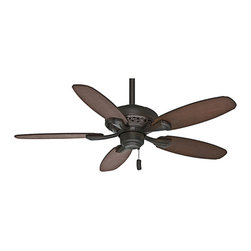 Casablanca Fans - Fordham Brushed Cocoa 44-Inch Ceiling Fan - - Just the right size and price. Add a touch of class to smaller rooms with this new fan that features intricate details on the housing  - Blades are specially coated with patented Dust Armor? nanotechnology to repel dust build-up  - Direct Drive? motor provides unparalleled power, silent performance, and reliability over decades of daily use  - Motor Type: Direct Drive?  - Motor Size: 172 x 12  - Included Control: 4-Speed Pull chain  - Optional control sold separately: 99019 Universal 4-Speed Handheld Remote and Receiver  - Number of Blades: Five  - Blade Span-Long: 44  - Blade Pitch: 13  - Blade Finish: Distressed Walnut and Dark Walnut  - Fan Body Material: Metal  - Blade Material: Veneer  - Blade Set: New blade hole pattern - Included  - Bulb Not Included  - Limiter 180-Watt: No  - Ceiling to Bottom of Fan: 12.61  - Ceiling to bottom of Fan Blade: 10.48  - Downrod Diameter: 2.75  - Fan Body Height: 10.08  - Canopy Diameter: 6.49  - Included Downrod Length: 3-Inch and 2-Inch  - Sloped Ceiling Adaptor: Yes  - High Speed (RPM): 254 Casablanca Fans - 53195