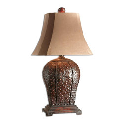 Uttermost - Uttermost Valdemar Table Lamp in Mahogany - Shown in picture: Mahogany Finish With Rust Distressing And A Beige Wash. This masculine iron lamp features a mahogany finish with rust distressing and a beige wash. The brushed palomino suede textile shade is a rectangular bell with clipped corners.