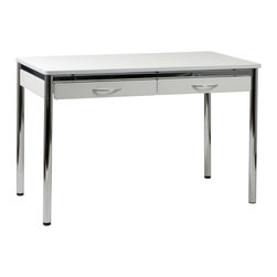 Eurø Style - Laurence Leather L Desk in White / Chrome - This desk comes with leather covered top, drawer fronts and apron, and chromed steel base & drawer pulls. Available in black, brown and white (each is available separately).