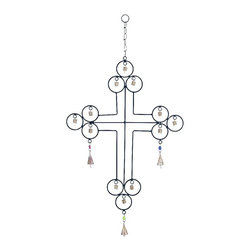 Woodland Imports - Cross Shape Bell Wind Chime Indoor Outdoor Patio Decor 26762 - Melodious contemporary style cross shape with bell wind chime plaque for indoor or outdoor use patio decor