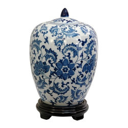 "Oriental Furniture - 11"" Floral Blue & White Porcelain Vase Jar - Imported oriental spice jar in a classic melon shape, with royal blue Ming floral pattern on a white china background. Finished with an antiqued ice crackle over glaze. Display in matched pairs on a breakfront, sofa table, or credenza, or individually on a Rosewood plant stand, decorative base, or lacquered pedestal."