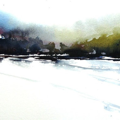 Tesuque Trail - Original Watercolor Painting - Evening on the trail at the end of a day hike up in the Sangre De Cristo mountains, quiet, cool and peaceful.