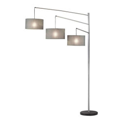 Adesso - Adesso Wellington Arc Lamp - This imposing satin steel arc lamp has three beautiful charcoal grey tweed-like linen drum shades which nest for easy shipping. Each shade suspends from a straight adjustable arm that swings from the 1.5 in Diameter pole. Black marble disk base. Four-way rotary switch on pole. The switch operates as follows: bottom only, bottom and center only, all on, all off. Each shade takes one 100 Watt incandescent or 26 Watt CFL bulb. 91 in Height, 71 in Depth. Base: 15 in Diameter. Shades 8.25 in Height, 15 in Diameter. 8 in Height, 14.5 in Diameter. 8 in Height, 14 in Diameter