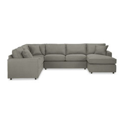 "York 136x103"" Four-Piece Sectional with Right-Arm Chaise -"