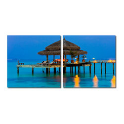 "Baxton Studio - Baxton Studio Dinner in the Tropics Mounted Photography Print Diptych - Vibrant blue sea and sky set the scene for a cozy dinner atop the ocean inside this breezy cabana. This photograph is arranged as a two-piece modern wall art set: two pieces of waterproof vinyl canvas feature half of the image on each and are mounted to MDF wood frames. The Dinner in the Tropics Photo Diptych is made in China, and is fully assembled. Hardware for hanging on the wall of your choice is not supplied. To clean, wipe with a dry cloth. Product dimension: 19.68""W x 1""D x 19.68""H"