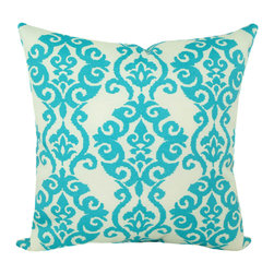 Land of Pillows - Waverly Sun N Shade Luminary Turquoise Damask Print Outdoor Pillow, 20x20 - Fabric Designer - Waverly