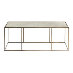 Arteriors - Othello Coffee Table - With the clean lines, classic finishes and quality materials of this coffee table, your friends will swear you hired a designer. Its geometric base is crafted from iron, and sports an antiqued brass finish. And its antiqued mirror top is sure to reflect your inner style maven.