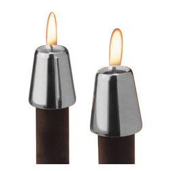 Fashion N You - Pewter Candle Followers (Set of 2) - Accent the glow of any candle with this set of two candle followers. These pewter plated candle followers effectively reduce drips and prolong burn time.