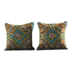 Crewel Pillow Euro Sham Art Nouveau Turquoise Cotton Duck (26x26)