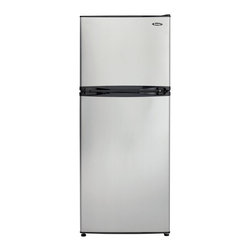 Danby - 10.0 CuFt. Top Mount Freezer, Frost Free,Crisper - The Danby DFF100A2BSLDB 10 Cu. Ft. Mid-Size Frost-Free Refrigerator with Top-Mount Freezer is compact and feature loaded. With glass shelves, a clear vegetable crisper, and frost free operation, this model is sure to fit all of your refrigeration needs. At just under 60 inches tall and less than 24 inches wide, the compact design is ideal for condos, apartments or as a secondary refrigerator/freezer.10 cu. ft. total capacity refrigerator with top-mount freezer|Frost-free operation|Electronic controls with blue indication display|2 adjustable/removable glass refrigerator shelves|1 adjustable/removable wire freezer shelf|See-thru vegetable crisper with glass cover|White, interior LED light|Reversible door hinge for left or right hand opening|Smooth back design for a flush fit against walls|Includes ice cube tray|  danby| dff100a2bsldb| mid-size| mid| size| refrigerator/freezer| refrigerator| top-mount| top| mount| separate| freezer| frost| free| frost-free| 10cf| 10| cu.| cu| ft.| ft| stainless| steel  Package Contents: refrigerator/freezer|ice cube tray|manual|warranty  This item cannot be shipped to APO/FPO addresses