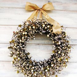 Holiday Gold & Antique White Berry Wreath by Wild Ridge Design - I'm loving this handmade golden wreath on Etsy. It definitely adds a homey touch.
