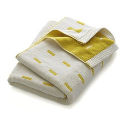 Marimekko Kullervo Citron Bath Towel - Marjaana Virta's clean design subtly graduates white rectangles on citron in a thirsty cotton jacquard weave that reverses the pattern on other side.