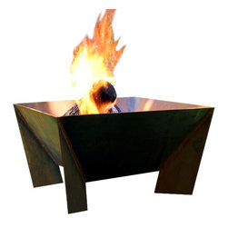 "Home Infatuation - DeZen Weathering Steel Fire Pit, Dezen Pit for Logs - This handcrafted outdoor fire pit is constructed entirely of 11 gauge Cor-Ten steel. Commonly called ""weathering steel"" it will develop a beautifully brown layer of rust when exposed to the weather."