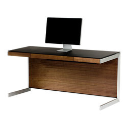 BDI - BDI Sequel Desk, Walnut - The minimalist Sequel Desk by BDI is a perfect fit for the modern office. The overall look is sleek with steel base, 3 wood veneer color options, and black micro-etched glass surface. Features include a desk drawer, internal power strip, and integrated cord management.