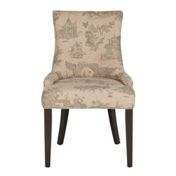Safavieh - Lester Dining Chair (Set Of 2) - Taupe - The Lester dining chair by Safavieh is full of elegant ease with low sloped arms and a slight hourglass shape to the seat back. Upholstered in a soft Asian inspired toile print in a blend of cotton and linen, this transitional chair is paired with birch wood legs in espresso finish. The effect is easy-going and timeless.