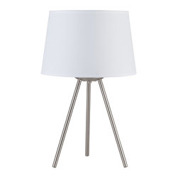 Lights Up! - Weegee Small Table Lamp, White Linen Shade - Style. Function. Simplicity. You've hit the trifecta with this modern table lamp. The tripod base is made of brushed nickel and holds one bulb beneath the tapered drum shade that comes in several colors and patterns to work in your room.