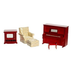 Mahogany Den Dollhouse Miniature Set - The four-piece Mahogany Den Dollhouse Miniature Set is made from real wood and features a realistic piano with a rich mahogany finish a stool and even a musical score propped on the piano ledge. The creamy tan chair and ottoman add a regal look to any room. This 1-inch scale set is for use in collector dollhouses only and is not recommended for children under the age of 13.