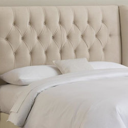 Skyline Furniture - Tufted Wingback Headboard in Velvet Buckwheat - Choose Size: FullLegs adjust for heights from 51 in. to 55 in.. Plush foam padding. Attaches to standard bed frames. Made from 100% polyester. Made in the USA. Minimal assembly required. Full: 60 in. L x 8.5 in. W x 54.5 in. H (56 lbs.). Queen: 66 in. L x 8.5 in. W x 54.5 in. H (61 lbs.). King: 82 in. L x 8.5 in. W x 54.5 in. H (68 lbs.). California king: 78 in. L x 8.5 in. W x 54.5 in. H (63 lbs.)Plush tufted wingback headboard upholstered in soft velvet