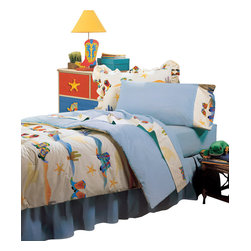 Room Magic - Cowboy Twin Comforter/Bedskirt/Sham Set - Cowboys and girls will love this adorable fabric design with cactus, sherriff badges and colorful western boots of every kind. Coordinating print comforter,  solid tailored bed skirt and print pillow sham set make the  Cowboy bed collection complete.  Available in Twin size in the finest 100% Cotton.