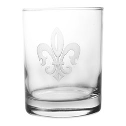 Rolf Glass - Grand Fleur De Lis DOF 14oz, Set of 4 - Make yours a double, whether it's an actual cocktail or simply a glass of guava juice, it will taste better in these cut-glass double-old-fashioned tumblers. A single elegant fleur-de-lis is sand-etched on the crystal.