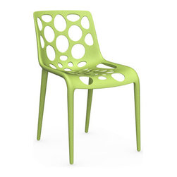 Calligaris - Hero Chair, Light Green - A molded marvel. This chair will swoop into your kitchen, office — or even outdoor patio — and save the day! Heavy duty, artfully patterned with varying-sized bubble cutouts, and available in three versatile colors.