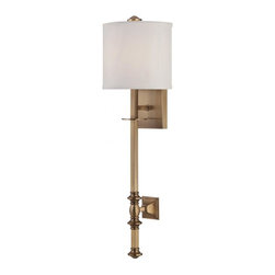 Joshua Marshal - One Light Warm Brass White Shade Wall Light - One Light Warm Brass White Shade Wall Light