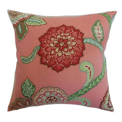"""The Pillow Collection - Samarinda Floral Pillow Rose - Spruce up your home with this fancy accent pillow. This decor pillow's fantastic print is a combination of lovely colors in pink, white, red, green, brown and blue. This 18"""" pillow is easy to team up with solids and patterns. The square pillow can be used in formal and casual settings. This throw pillow is made from 100% linen fabric. Hidden zipper closure for easy cover removal.  Knife edge finish on all four sides.  Reversible pillow with the same fabric on the back side.  Spot cleaning suggested."""