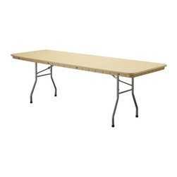 PRE Sales - 8 Foot Banquet Table - Weather resistant and maintenance free. 0.75 in. lip for skirting. SGS tested and approved. Lightweight - easy to grip and carry. Auto-locking steel wishbone legs and steel frame. Easy set up and take down. Stain-resistant surfaces won crack or splinter. Heat and water resistant. Legs 15 in. from ends on 6 & 8 foot tables for dining comfort. 5 year limited warranty. 96 in. L x 30 in. W x 30 in. H (54 lbs)Our Rhino tables are built with high-density polyethylene resin, and steel legs and frame. These are HEAVY-DUTY, plastic tables (not Lite Duty, like common blow mold tables). Rhinos have been tested by SGS Labs, and rated at 2400 lbs. capacity (unlike blow mold tables, rated at only 400 lbs.). Weather resistant and low maintenance, Rhinos never need sanding or refinishing. Rounded corners help to avoid damage. This lightweight table is easy to set up and take down. Gravity locking, wishbone legs are standard, and the tops have a ¾ inch edge to allow for skirting. Standard table height is 30 (dining height), except for the children's table. Table width is 30, except for the 60 Round.