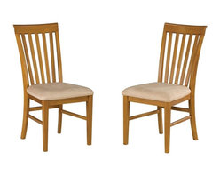 Atlantic Furniture - Atlantic Furniture Mission Side Chair in Caramel Latte (Set of 2) - Atlantic Furniture - Dining Chairs - AD771107 - The Atlantic Furniture Mission Dining Side Chairs are constructed from Eco-friendly solid hardwood and have an elegant Caramel Latte wood finish. This set of two dining side chairs feature a vertical slat back design and an Oatmeal colored seat cushion. The Mission Dining Side Chairs are perfect for a casual dining room setting.