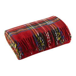 """Faribault Mill - Stewart Plaid Wool Throw - Red - Faribault Woolen Mill was the first company to introduce a stadium blanket with the introduction of the """"Pak-A-Robe"""" in 1949. These rugged throws are designed to be used outdoors and are naturally soil repellent. Dirt and debris can simply be brushed away returning the throw to like-new condition. Faribault pioneered the use of machines to create the distinctive rolled fringe used on this blanket. We use the same machine today to create the fringe on these throws. Permanently moth-proofed, 100% pure wool."""