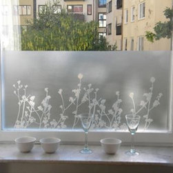 Sotsak/Maria Liv - Window Film/Privacy Film Ester (Flowers) - Beautiful and fun decorative window privacy/screen static cling film.