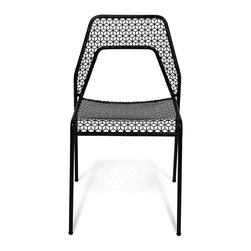 Blu Dot - Blu Dot Hot Mesh Chair, Black - Chipper chair seeks derrieres for at home enjoyment or cafe canoodling. Available in six finishes: black, green, humble red, natural yellow, simple blue and off-white. Stackable and suitable for use indoors or out. Also available as a chair or counterstool.