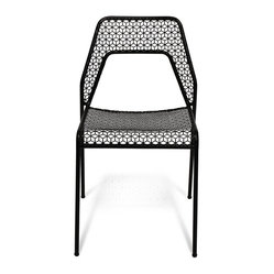 "Blu Dot - ""Blu Dot Hot Mesh Chair, Black"" - ""Chipper chair seeks derrieres for at home enjoyment or cafe canoodling. Available in six finishes: black, green, humble red, natural yellow, simple blue and off-white. Stackable and suitable for use indoors or out. Also available as a chair or counterstool."""