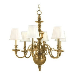 Hudson Valley Lighting - Hudson Valley Lighting 1746 Six Light Up Lighting Cast Brass Candelabra Style Ch - Traditional / Classic Six Light Up Lighting Cast Brass Candelabra Style Chandelier with Pleated Cone Shaped Shades from the Charleston CollectionCharleston Collection Six Light Up Lighting Chandelier with Cone Shaped Shades.Features: