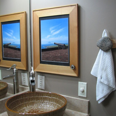 Recessed Picture Frame Medicine Cabinets with No Mirrors - Large Maple Concealed Cabinet with natural interior from ConcealedCabinet.com.  You insert your own artwork and change it as often as you like!