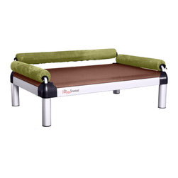 DoggySnooze - snoozeSofa, Long Legs, 3 Bolster Green - If you spend half your time coaxing your pampered pooch off your couch, here's a sofa just for him. Elevated for comfort, with three sturdy bolsters to support him, this stylish dog bed comes in a selection of colors to complement your home or office decor. Made in the USA and available in three sizes, with optional black anodized frame, long legs and memory foam.