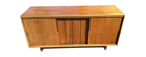 Cavalier - Mid-Century Modern 12-Drawer Credenza - Expansive Mid-Century modern twelve-drawer credenza by Cavalier. Three sliding panels, brass highlights and plenty of storage. Ideal for use as a dresser or media cabinet.