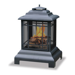 Blue Rhino - Blue Rhino 360-degree Large Black Firehouse - Stay warm and cozy on cool evenings with this Blue Rhino fire fit. The distinctive design of this firehouse ensures everyone enjoys plenty of warmth. An included steel log grate and convenient door make it easy to keep your fire going.