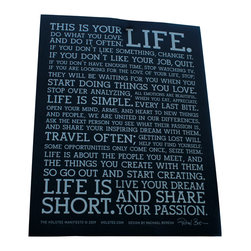 Holstee - Holstee Manifesto Poster Black 12 x 16 - The Black Manifesto Poster features beautiful silver type and is printed on 100% cotton paper, a by-product of the cotton industry. Display these words of inspiration and live your dream.