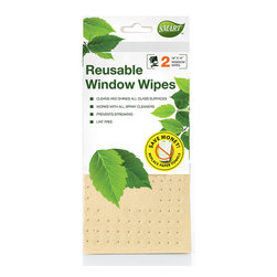Reusable Window Wipe 2pc - Perforated design and special shammy coating works like a squeegee to wipe away dirt & smudges with ease. Works with or without cleaners to provide streak-free and lint-free shine.