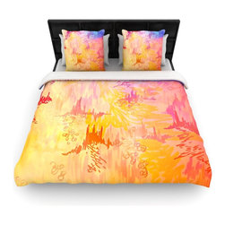"Kess InHouse - Ebi Emporium ""Sky Risers II"" Pink Yellow Cotton Duvet Cover (King, 104"" x 88"") - Rest in comfort among this artistically inclined cotton blend duvet cover. This duvet cover is as light as a feather! You will be sure to be the envy of all of your guests with this aesthetically pleasing duvet. We highly recommend washing this as many times as you like as this material will not fade or lose comfort. Cotton blended, this duvet cover is not only beautiful and artistic but can be used year round with a duvet insert! Add our cotton shams to make your bed complete and looking stylish and artistic!"