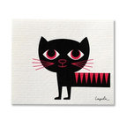 Swedish Dish Cloth, Modern Retro Cat - THE SWEDISH ECO-FRIENDLY DISHCLOTH: The dry sponge cloth was invented in 1949 by the Swedish engineer Curt Lindquist, who discovered that a mixture of natural cellulose (wood pulp) and cotton can absorb an incredible 15 times its own weight in water.